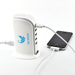puertos 5usb tiburón 5v 6a viejos de pie adaptador de corriente del cargador para el iphone 6 5s ipad samsung blackberry htc blanco
