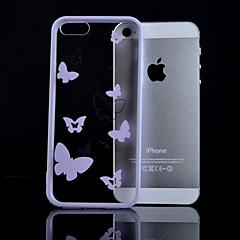 mauve motif de papillon frontière matière combo étui transparent de téléphone pour iphone 5 / 5s