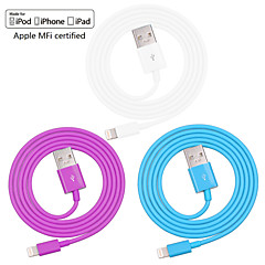 assorterte farger eple mfi sertifisert lyn til usb data synkronisering ladekabel for iphone 6 / 6plus / 5s / 5 / ipad (100cm)
