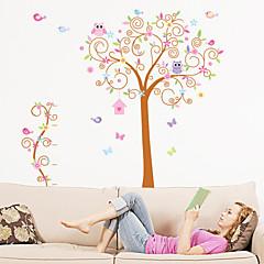 muurstickers muur stickers, grote kleurrijke boom uilen pvc muurstickers