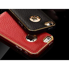 Special Design Metal Bumper Frame Genuine Leather Rear cover for iPhone 5/5S(Assorted Colors)