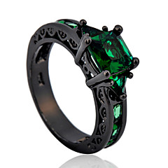 High Quality Fashion Women's Black Gold 10 KT Has Four Claws On Green Squares Zircon Ring