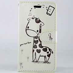 Cartoon giraffe PU Leather Full Body Wallet Protective Case with Stand and Card Slot For Alcatel One Touch Pop C7