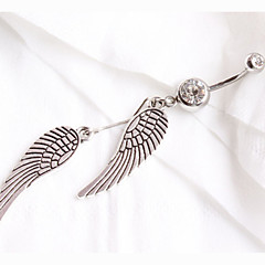 Fashion Stainless Steel Crystal Feather Navel Belly Button Ring Dancing Body Jewelry Piercing