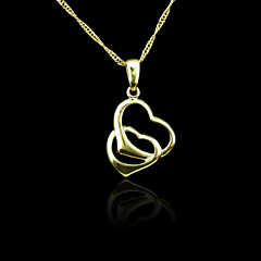 18K Real Gold Plated Double Heart Pendant 2*3.4CM