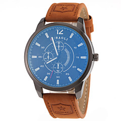 Men's Military Design Khaki Leather Band Quartz Wrist Watch