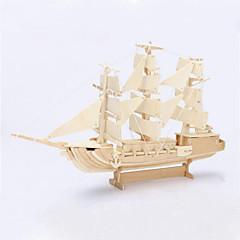 DIY sejlskib formet 3d træ puslespil