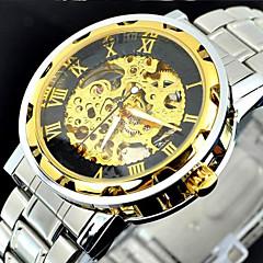 השעון של הגברים פלדה אל חלד שלד זהב מכאני