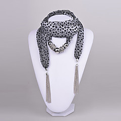 D Exceed Women's  Grey Leapord Chiffon Scarf necklace Silver CCB Ring Scarf Necklace with tassels