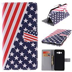 Varten Samsung Galaxy kotelo Korttikotelo / Tuella / Flip / Magneetti / Kuvio Etui Kokonaan peittävä Etui Lippu Tekonahka Samsung A7