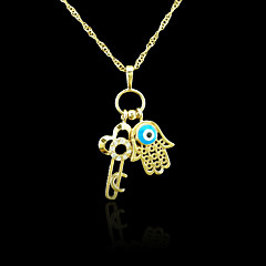 18K Real Gold Plated Hamsa Hand Of Fatima Evil Eye Key Crystal Pendant 3.7*2.5CM