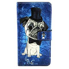 For Samsung Galaxy etui Etuier Kortholder Med stativ Flip Mønster Magnetisk Heldækkende Etui Hund Kunstlæder for Samsung A7