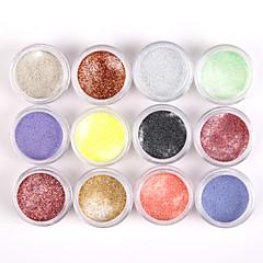 12PCS Glittery Nail Art Acrylic Paint Powder Shining Nail Sculpting Carving UV Painting Dust for Salon Nail Decorations