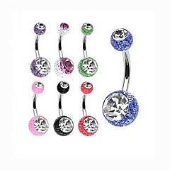 Dam Navel & Bell Button Rings Kristall / Rostfritt stål Smycken,1st