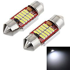 Festoon 31mm 5W 100lm 6000K 10-SMD 2070 LED White Light Car Reading Lamps/License Plate Lamp (12V, 1-Pair)