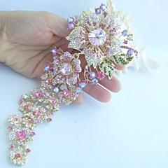 kvinder tilbehør guld-tone pink rhinestone krystal orkidé blomst broche art deco krystal broche bouquet kvinder smykker