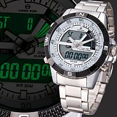 Hommes Montre Bracelet Quartz LCD Calendrier Chronographe Etanche Double Fuseaux Horaires penggera Acier Inoxydable Bande Argent Marque