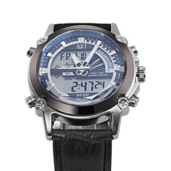 Hommes Bracelet Montre Quartz LCD / Calendrier / Chronographe / Etanche / Double Fuseaux Horaires / penggera PU Bande Noir / Blanc / Bleu
