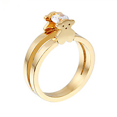 Toonykelly® Stainless Steel Animal Ring Gold Crystal Zircon Statement Ring 1pc