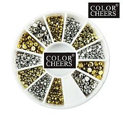 500PCS Mixs 1.5mm/2mm/3mm Hemisphere Nail Art Golden&Silver Decorations
