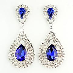 Europe Style Drop Shape Alloy Setting Diamond Earrings(Blue,Green)(1Pc)