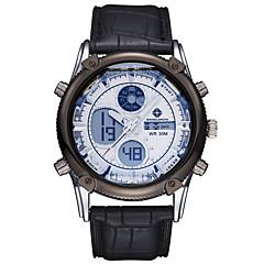 ASJ Heren Sporthorloge Polshorloge Japans Kwarts LCD Chronograaf Waterbestendig Dubbele tijdzones alarm Roestvrij staal Leer Band Luxueus