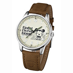 Men's Assorted Colors High Quality Alloy Dial Genuine Leather Band Water Resistant Cartoon Quartz Wristwatches