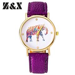 damesmode diamant mooie kleurrijke olifant kwarts analoge lederen polshorloge (verschillende kleuren)