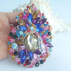 kvinder tilbehør sølv-tone flerfarvet rhinestone krystal blomst broche art deco krystal skærf tørklæde broche buket