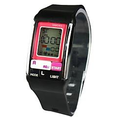 unisex lcd digital multifunktions fyrkantig urtavla gummiband vattentät elektronisk klocka (blandade färger)