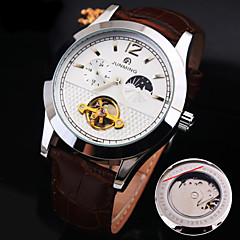 Men's New Round Dial Genuine Leather Strap Waterproof Fashion Mechanical Watch  (Assorted Colors) Cool Watch Unique Watch