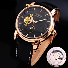 Men's New Round Diamond Dial Genuine Leather Strap Waterproof Fashion Mechanical Watch  (Assorted Colors) Cool Watch Unique Watch