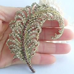 kvinder tilbehør guld-tone topas rhinestone krystal blad broche art deco krystal broche bouquet kvinder smykker