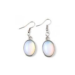 1 Pair Oval Opal Gemstone Stone Dangle Hook Earrings 13x18mm