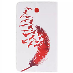 Red Bird and Red Feather Picture PU Leather Full Body TPU Case with Card Holder for Samsung Galaxy 3200/Tab 3