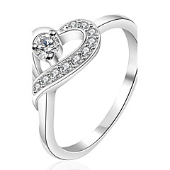 Xu™ Women's Diamonds 925 Silver Plated Heart-shaped Ring(Color Preserving More Than A Year)
