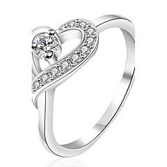 指輪 結婚式 / パーティー / 日常 / カジュアル ジュエリー ジルコン / 銀メッキ 女性 ステートメントリング 1個,7 / 8 シルバー