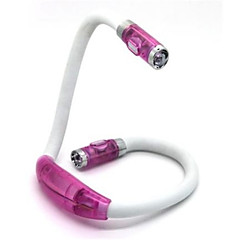0.5W의 50lm 4xled 핸즈프리 유연한 휴대용 독서 조명 포옹 램프 목 (핑크)