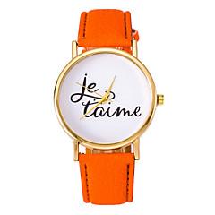 Women's Fashion Watch Quartz Leather Band Word Watch Blue Orange Brown Purple Strap Watch
