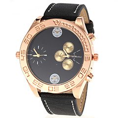 Unisex Fashion Dual Time Display PU Band Quartz Wrist Watch