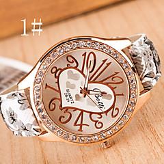 Dames Modieus horloge Kwarts Leer Band Heart Shape Meerkleurig Merk-