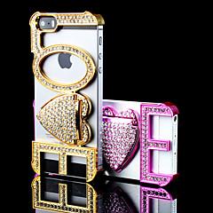 adorar o pêssego projetar caso capa dura com diamante e Suporte para iPhone 5 / 5s