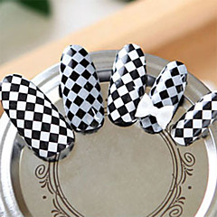 Black White checkered Nail Art Stickers
