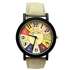 Men's Gold Round Dial PU Band Quartz Analog Wrist Watch (Assorted Colors) Cool Watches Unique Watches Fashion Watch