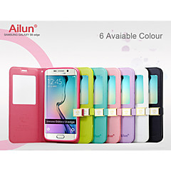 Ailun® Ultra Thin Magnetic Flip Cover Leather Window View Case with Stand for Samsung Galaxy S6 edge (Assorted Colors)