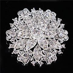 Vintage Naisten selvä kristalli tekojalokivi timantti lehtiä häät rintakoru