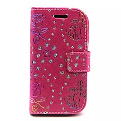 Diamond Rose Patterns Wallet Card PU Leather Full Body Case for Samsung Galaxy Fame S6810(Assorted Color)