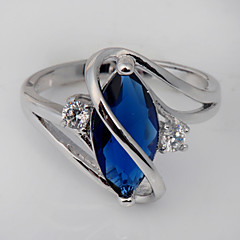 Size 7/8/9 High Quality Women Blue Sapphire Rings 10KT White Gold Filled Ring