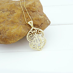 18K Golden Plated Allah Muslim Islamic Zircon Micro-Inclosed Hollow Out Pendant