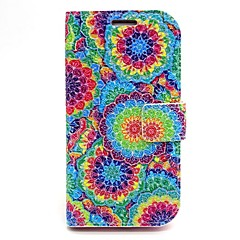 Colorful Flowers Leather Case with Stand for Samsung Galaxy S6/S5/S4/S3/S3 mini/S4 mini/S5 mini/ S6 edge